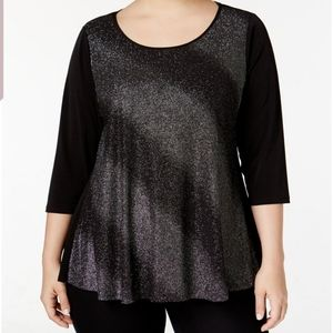 NY COLLECTION PLUS SIZE 1X METALLIC SPARKLY TOP